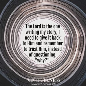 """Each of us has disappointments in our lives but we need to remember that God is the one writing our story. We need to let go of control and trust Him to write His story on our lives, instead of always questioning, """"why?"""".   Faith-fullness.net"""