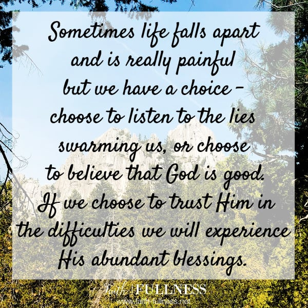 Sometimes life falls apart and is really painful but we have a choice - choose to listen to the lies swarming us, or choose to believe that God is good. If we choose to trust Him in the difficulties we will experience His abundant blessings. | Faith-Fullness.net